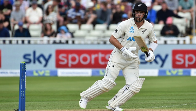 New Zealand's Will Young bats during the second day of the second cricket test match between England and New Zealand at Edgbaston. AP