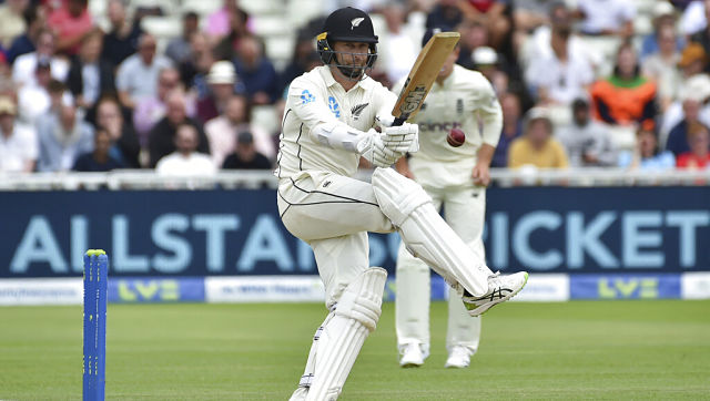 New Zealand's Devon Conway in action during Day 2 of the second Test against England. AP