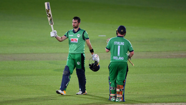 Skipper Andy Balbirnie remained unbeaten on 63 to guide Ireland home to an eight-wicket win over Netherlands. Image credit: Twitter/@ICC