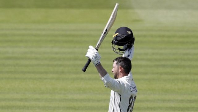Devon Conway celebrates after scoring double century on Day two of the first Test against England. AFP