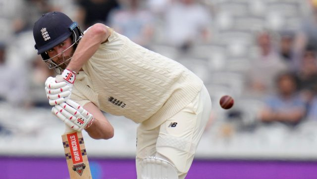 Dom Sibley in action on Day 5 of the first Test against New Zealand. AP