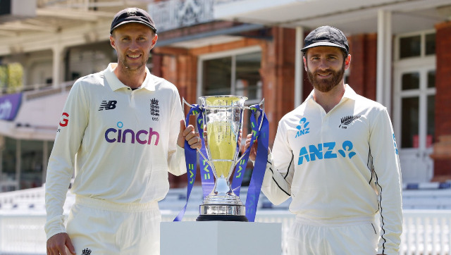 England captain Joe Root with his New Zealand counterpart Kane Williamson pose with the trophy to be awarded to the winner at the end of the two-Test series. Image credit: Twitter/@BLACKCAPS