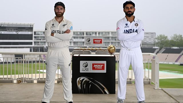 Kohli and Williamson with the ICC Test championship mace. BCCI