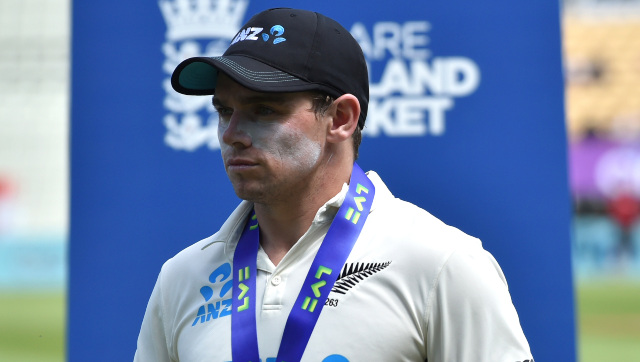 Tom Latham, who filled in as New Zealand captain in place of the injured Kane Williamson, attends the post-match presentation ceremony after the second Test against England at Edgbaston. AP