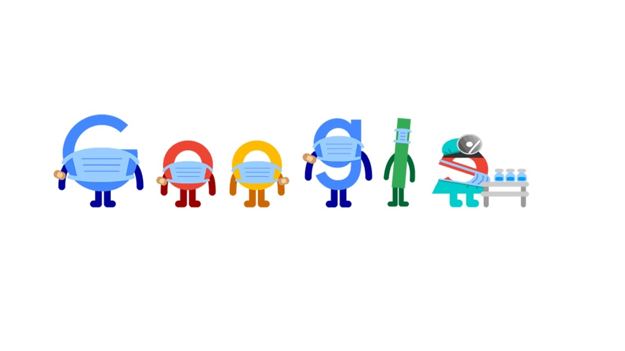 Todays Google Doodle is an adorable reminder to wear a mask and get vaccinated
