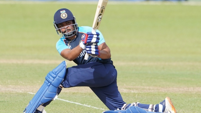 Prithvi Shaw in action during India's second intra-squad game in Colombo. Twitter/@BCCI