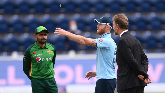 Pakistan captain Babar Azam with his English counterpart Ben Stokes during the toss in the third ODI in Birmingham. Image credit: Twitter/@ICC