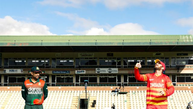 Brendan Taylor and Tamim Iqbal at toss. Image: Twitter/@ZimCricketv