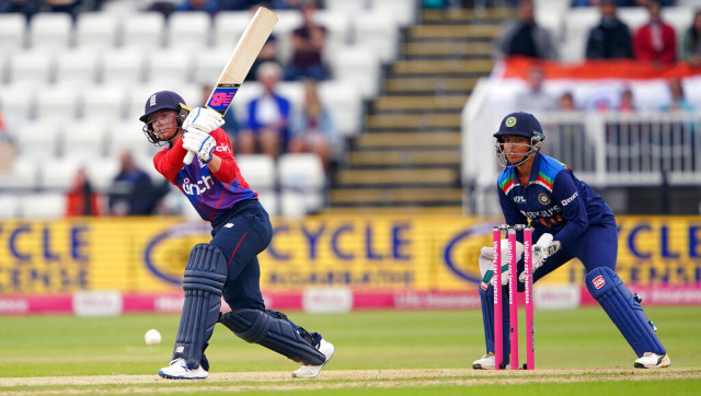 England's Danni Wyatt in action during the first T20I against India in Northampton. AP