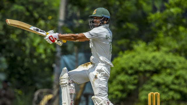 Bangladesh opener Shadman Islam bats during the one-off Test against Zimbabwe at the Harare Sports Club. Image credit: Twitter/@ICC