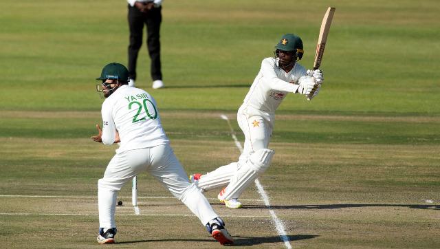 Zimbabwe batsman Takudzwanashe Kaitano plays a shot on Day 2 of the one-off Test against Bangladesh at the Harare Sports Club. AP