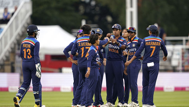 The India women's team during the first T20I against England. AP