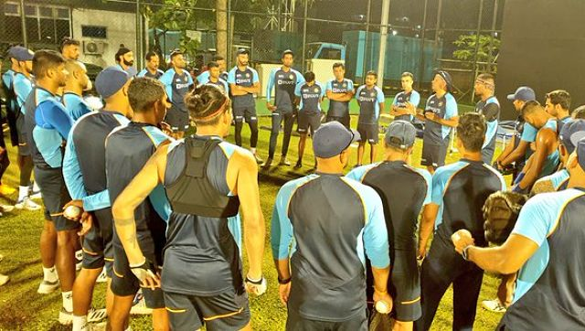 Team India members during a practice session ahead of the limited-overs series. Twitter @BCCI