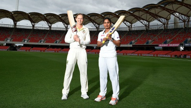 Australia captain Meg Lanning and her India counterpart Mithali Raj pose at the Metricon Stadium ahead of the one-off pink-ball Test. Image credit: Twitter/@BCCIWomen
