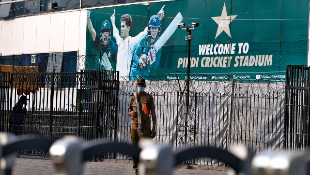 A police officer stands guard outside the Pindi Cricket Stadium in Rawalpindi, where the ODI series between Pakistan and New Zealand was to take place before the Black Caps pulled out citing security concerns. AP