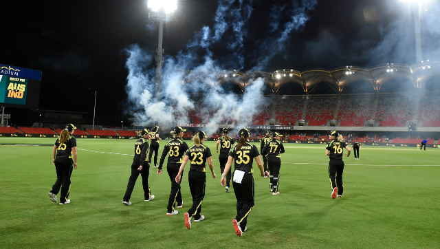 The Australians take to the field during the first T20I against India at the Carrara Oval. Image credit: Twitter/@AusWomenCricket
