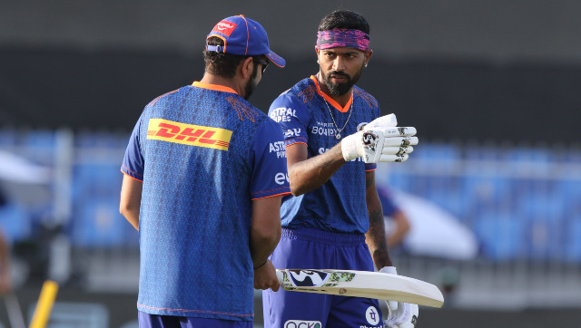 Captain Rohit Sharma and all-rounder Hardik Pandya at a Mumbai Indians training session during the second leg of IPL 2021 in the UAE. Sportzpics