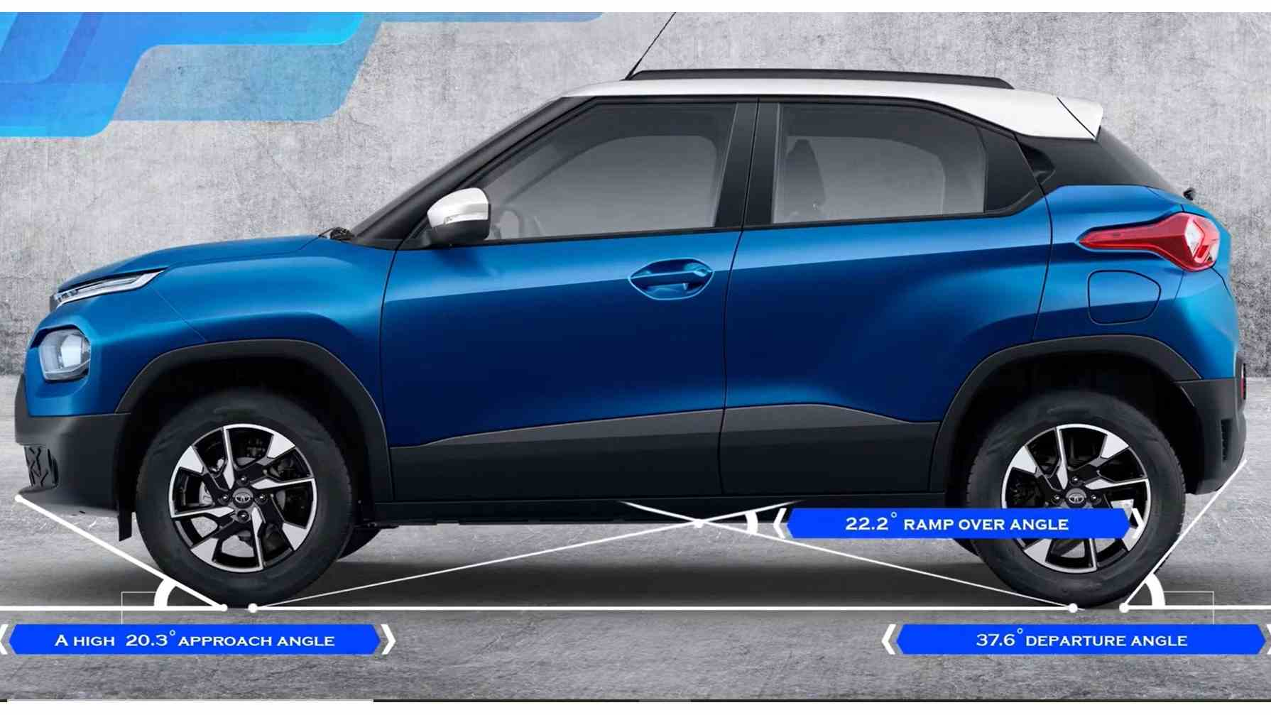 Tata even provided approach, departure and ramp-over angles for the Punch, something not necessarily expected of a small city car. Image: Tata Motors