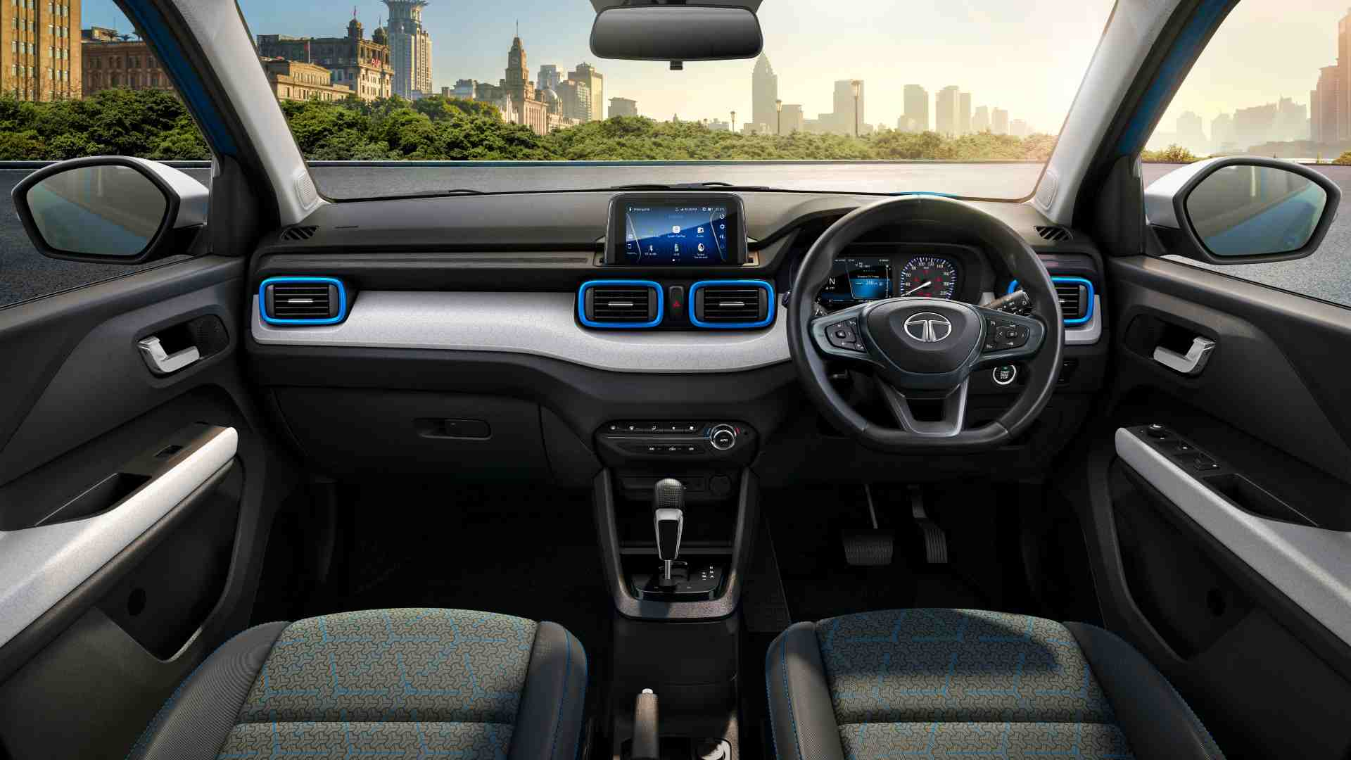 A 7.0-inch touchscreen infotainment system will be offered with the Punch from the Accomplished trim onwards. Image: Tata Motors