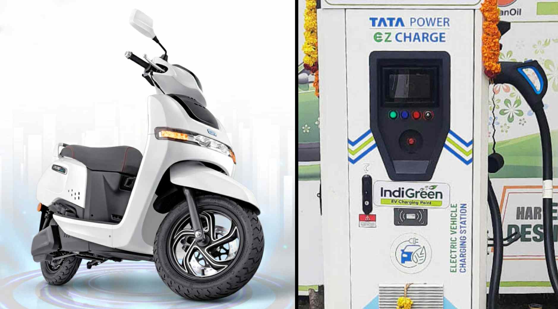 TVS iQube owners will be able to use Tata Power charging stations and pay for every charging session via a smartphone app. Image: TVS and Tata Power
