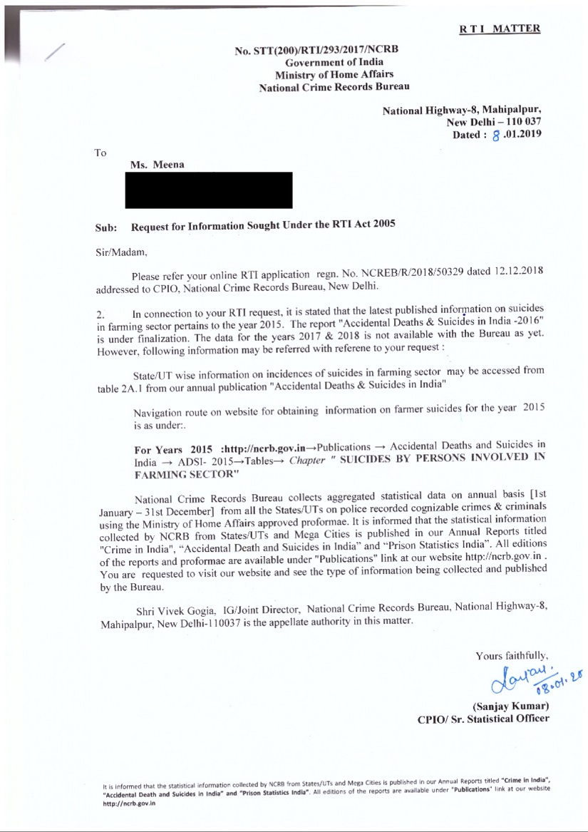 NCRBs silence on farmer suicides RTI reply reveals why organisation has not released data since 2016