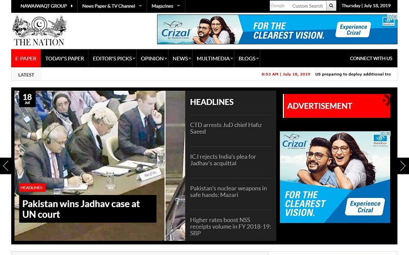 Vindicated at ICJ Pakistan news media hails international courts verdict in Kulbhushan Jadhav case as moral victory
