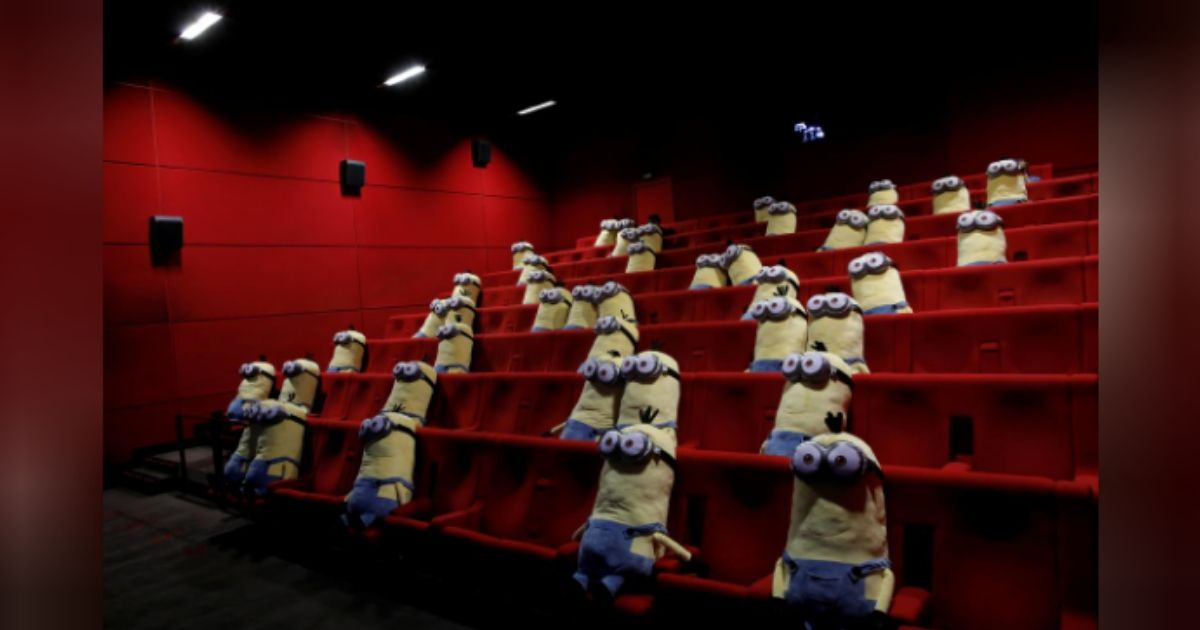 Coronavirus Outbreak Minions stuffed toys greet French moviegoers to ensure social distancing in theatres