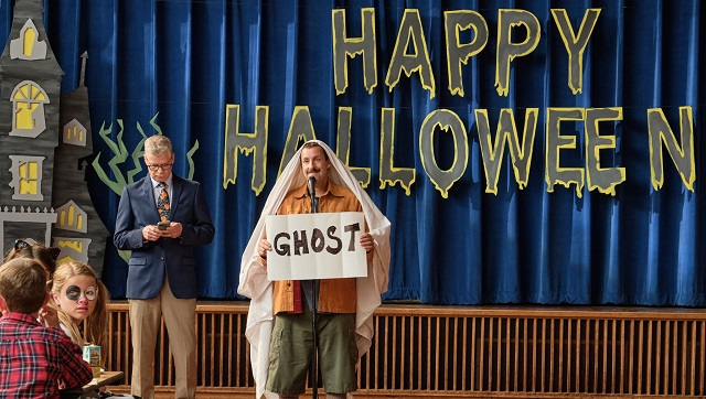 Hubie Halloween movie review Adam Sandler endorses kindness in unabashedly silly Netflix comedy