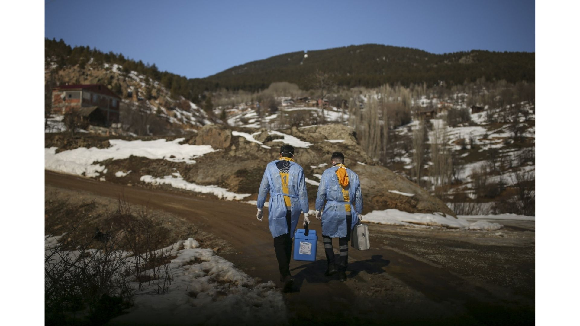 Medical teams in Turkey travel to remote mountain villages as part of vaccination drive against <span class=